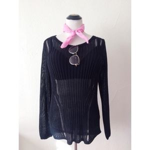 H&M black sheer long sleeve knitted boat neck top